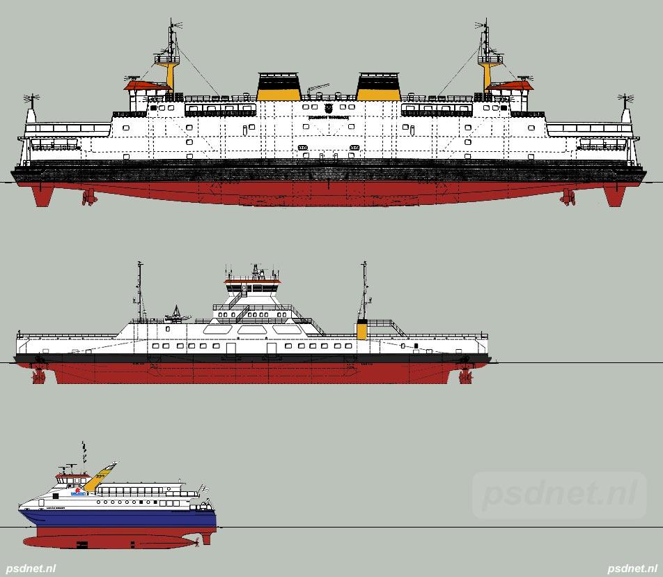 De Koningin Beatrix (1993), Eira (2002) en een SWATH-ferry (2004) vergeleken op schaal. Sebastiaan Keijmel uit Breskens pleit voor schepen zoals de Eira, waarbij ook plaats is voor auto's.