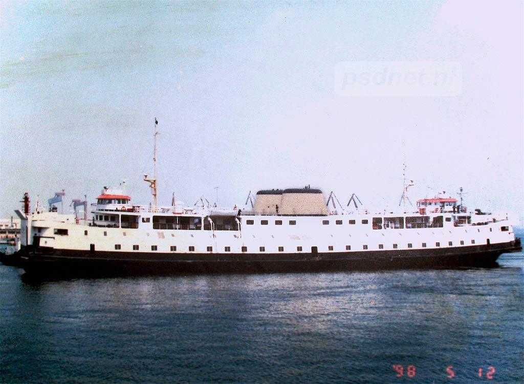 De enige foto die wij kennen van de PSD-veerboot Prinses Margriet in China