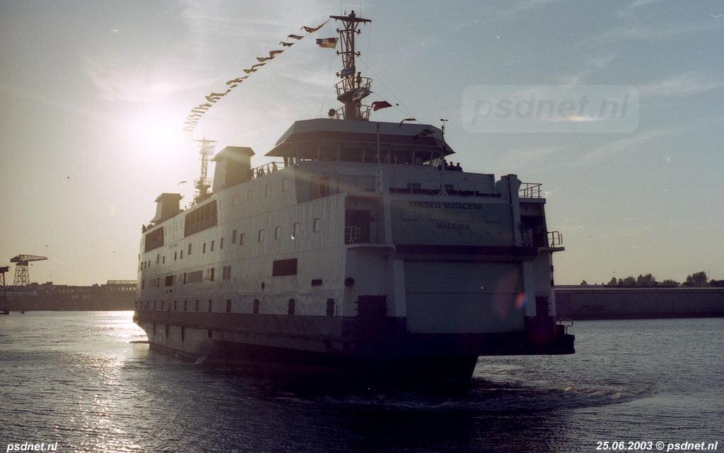 Het definitieve vertrek van de PSD-veerboot Prinses Juliana naar Italië