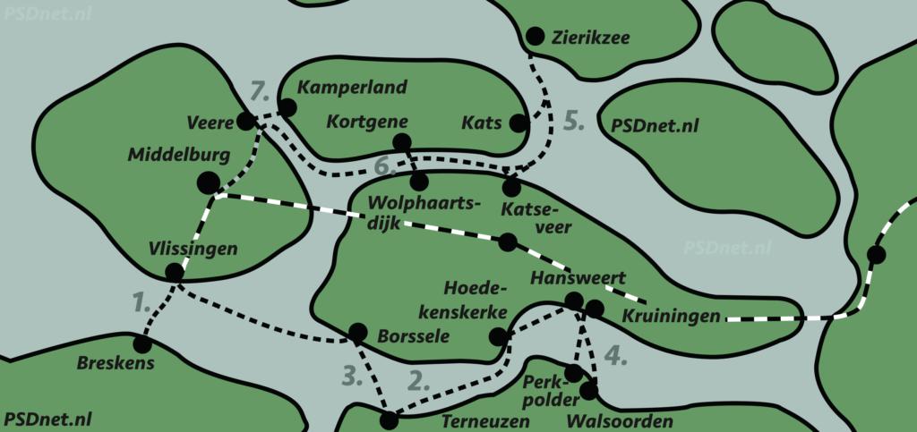 Zeeuwse veerdiensten overzichtskaart